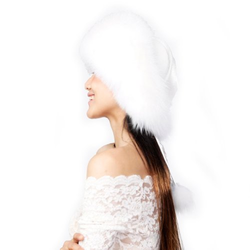 Women's Fox Fur Siberian Mongolian Ushanka Trapper Hats (White)