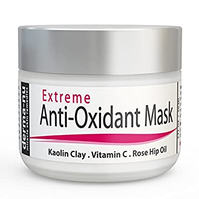 Anti Aging Facial Mask - Extreme Anti Oxidant Facial - This Mud Mask Contains Kaolin Clay, Glycolic Acid, Vitamin C, Peptides, CoQ10 & Rose Hip Oil to Fight Wrinkles and Free Radical Damage - 2oz