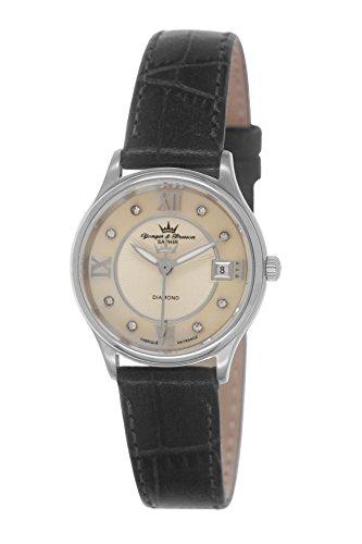 Yonger & Bresson DCC 1688/06 - Orologio da polso donna, pelle, colore: nero