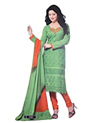 Your Choice Women's Cotton Light Green Semi-Stitched Salwar Suit Dress Material With Dupatta