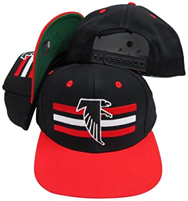 Atlanta Falcons Black/Red Two Tone Snapback Adjustable Plastic Snap Back Hat / Cap