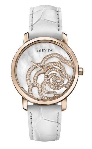 Valentino Women's V41SBQ5091SSA01 Rose Gold-Plated Diamond White Crocodile Leather Watch