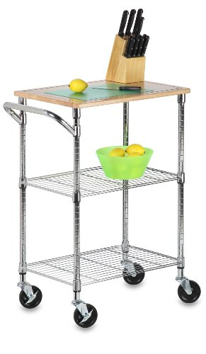 Kitchen Utility Cart with Wheels & Cutting Board