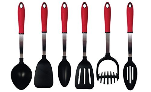 The Kitchen Queen 6 Piece Red Kitchen Utensils Sets, Stainless Steel & Nylon Gadgets- Slotted Spoon, Solid Spoon, Slotted Spatula, Solid Spatula, Potato Masher, Punch Bowl Ladle- Made in the USA (Kitchen Utensils Set Made In Usa compare prices)