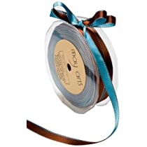 May Arts 3/8-Inch Wide Ribbon Light Blue and Brown Satin
