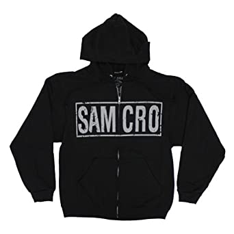 Sons of Anarchy Samcro Boxed Reaper Black Adult Zip-Up Hoodie Hooded Sweatshirt