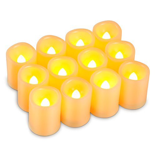 Kohree Timer Votive Flameless Candles, Unscented Battery Operated Candles, 6-Hours-Cycle Timer, Set of 12 LED Pillar Candles (Battery Votive Candles Timer compare prices)
