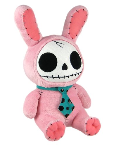 Furry Bones Pink Plush Bunny - 12 Inch Stuffed Skull