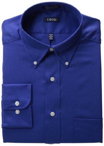 izod mens twill dress shirt sapphire 18 32 33