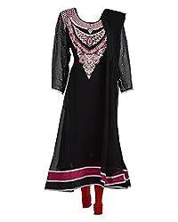 Vama Girl's Georgette Anarkali Suit (Black, 38)