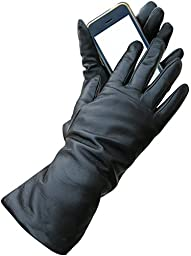 Fownes Women\'s Cashmere Lined Black Conductive Lambskin Leather Gloves 9/XXXL