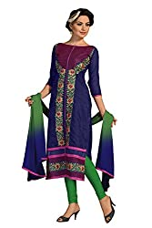 Swagpod Blue Chanderi Embroidered Unstitched Dress Material SWAG00261