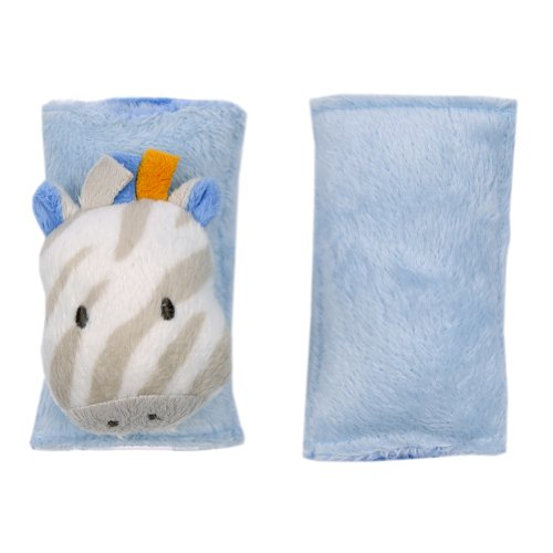 Blankets and Beyond Super Plush Baby Zebra Strap Cover Blue - 1