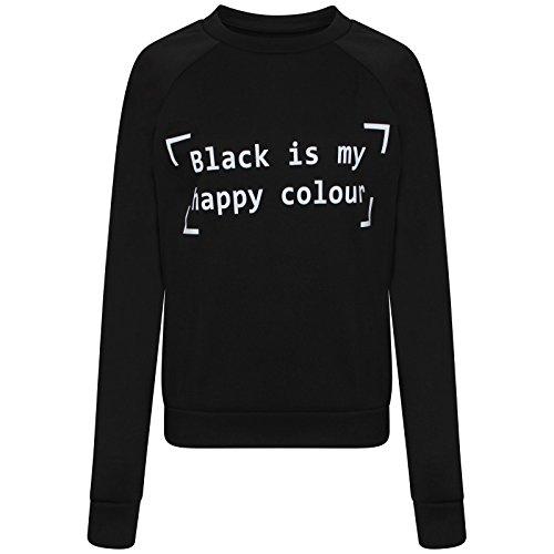 """LCL-Nuove donne di stile """"Black is my happy colour"""" Felpa Top Taqlia S-XL:(T/M-Love Celeb Look) (M/L, Black)"""