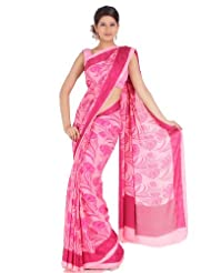Utsav Fashion Women's Pink Faux Georgette Saree with Blouse - B00KM5D6OA