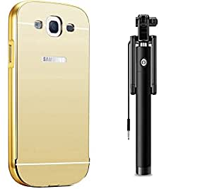 Novo Style Back Cover Case with Bumper Frame Case for Samsung Galaxy Grand Duos i9082 / GT-I9060 Golden + Wired Selfie Stick No Battery Charging Premium Sturdy Design Best Pocket SizedSelfie Stick