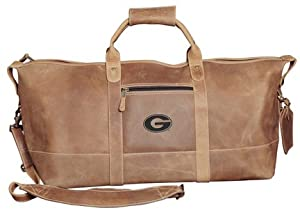 NCAA Georgia Bulldogs Little River Leather Duffel Bag by Canyon Outback
