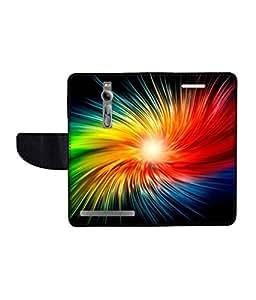 KolorEdge Printed Flip Cover For Apple Asus Zenfone 2 -Multicolor (55KeMLogo10542Zen2)