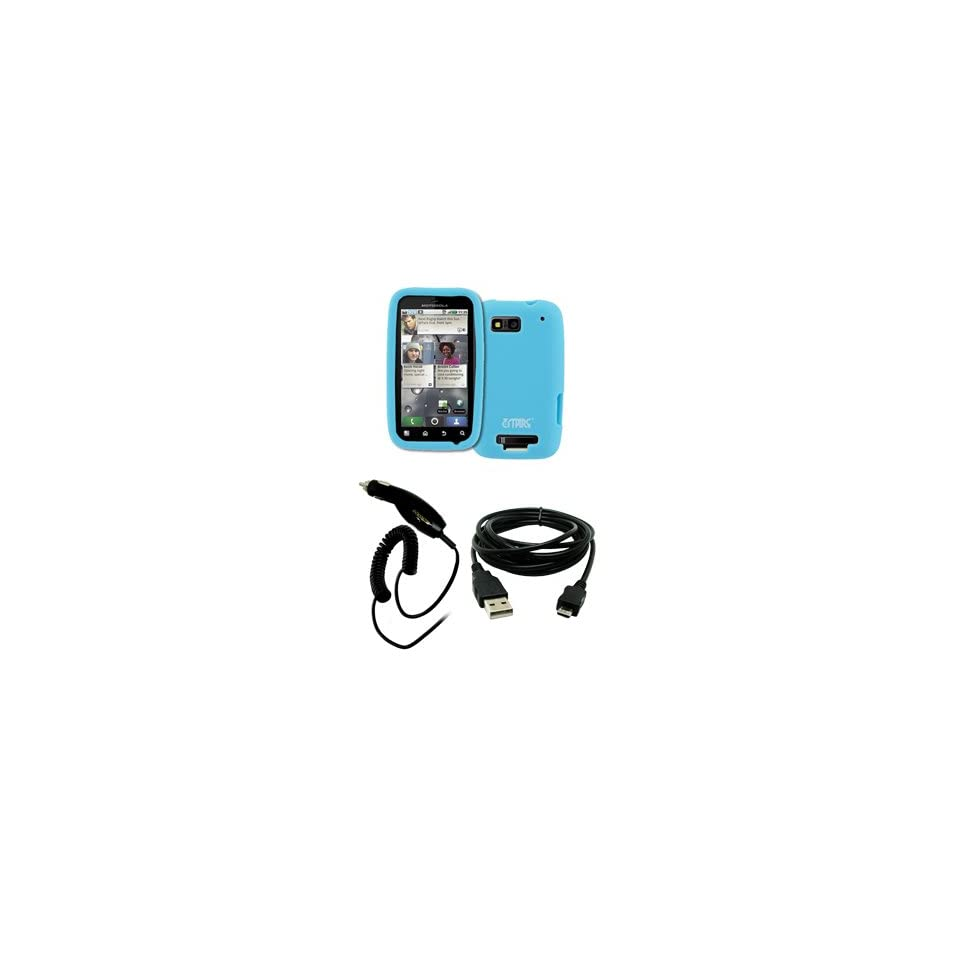EMPIRE Light Blue Silicone Skin Case Cover + Car Charger (CLA) + USB Data Cable for T Mobile Motorola Defy MB525