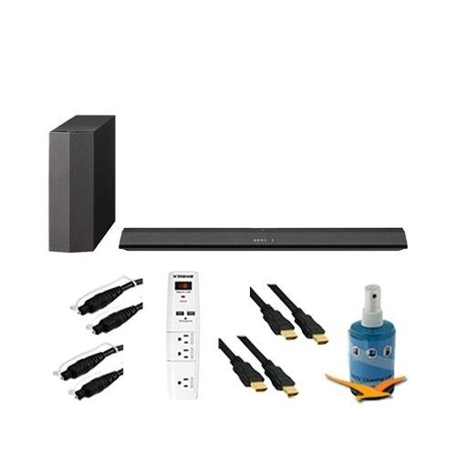 300W 2.1 Sound Bar With Wireless Subwoofer Plus Hook-Up Bundle - Ht-Ct370. Bundle Includes 3 Outlet Surge With 2 Usb Ports, Two 6Ft Optical Toslink 5.0Mm Od Audio Cables, Two 6 Ft High Speed 120Hz Ready 1080P Hdmi Cable, And Tv/Lcd Screen Cleaning Kit.