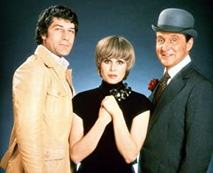 Gareth hunt as mike gambit joanna lumley as purdey patrick macnee as john steed from the new - Chapeau melon et bottes de cuir purdey ...
