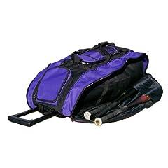 Black & Purple Cobra XL Softball Baseball Catchers Bat Equipment Roller Bag by MAXOPS