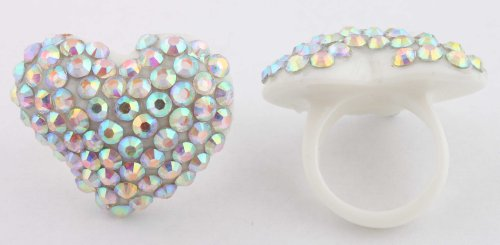 White with Multicolor Iced Out Heart Shaped Finger Ring Poparazzi