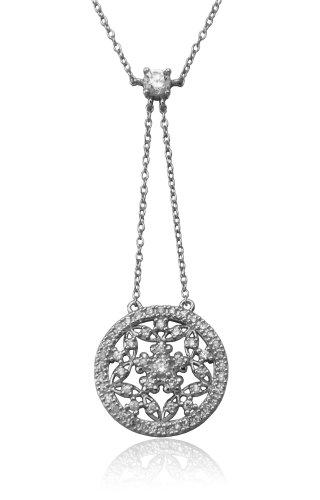 Sterling Silver Cubic Zirconia Flower Drop Pendant, 18