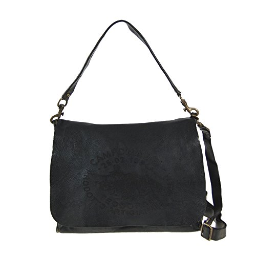 Campomaggi C3603 TVVLTC Faggio Donna Messenger Bag con Canvas e spalla in pelle Borsa Vintage Design Grigio Grigio