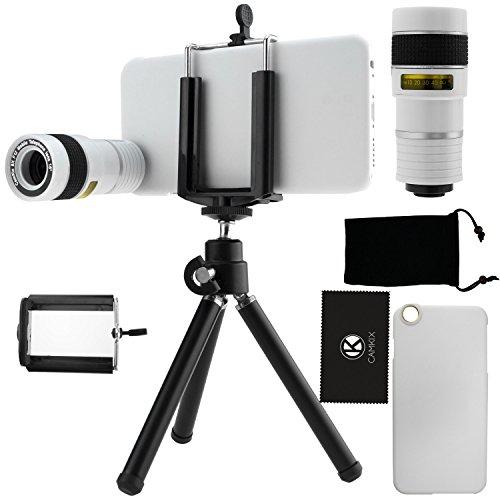 Kit obiettivi per fotocamera per iPhone 6 / 6S, include Lente 8x per teleobiettivo / Mini cavalletto / Supporto universale per cellulare / Custodia rigida per iPhone 6 / 6S / Borsa portacellulare in velluto / Panno per pulire in microfibra CamKix / Fantastici accessori per la fotocamera del tuo iPhone 6 / 6S