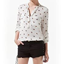 Zehui Womens Dog Printed Chiffon V-neck Long Sleeve OL Leisure Button Shirt Collarless Blouse Tops US10