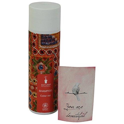 BIOTURM - Shampoo Riflessante e Ravvivante per Capelli Rossi con Estratto di Hennè e Mirtillo Rosso - Ideale per Capelli Rossi