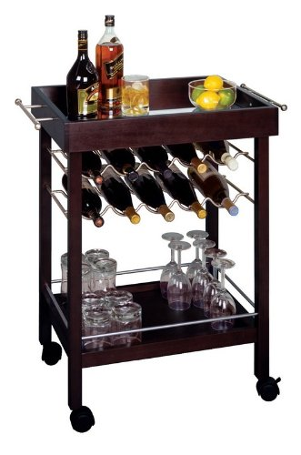 Kitchen Cart, Trolley With Wine Storage Rack And Table front-241057