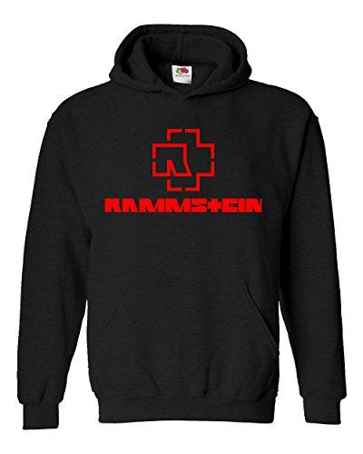 "Felpa Unisex ""Rammstein - red logo"" - Felpa con cappuccio rock band LaMAGLIERIA, S, Nero"