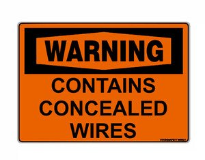 Warning Contains Concealed Wires Sign