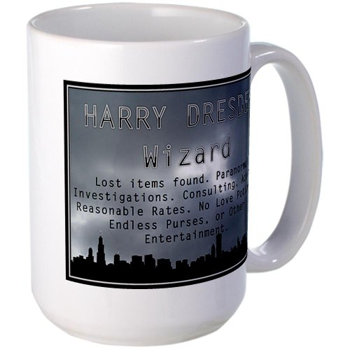 CafePress - Harry Dresden Business Card Large Mug - Coffee Mug, Large 15 oz. White Coffee Cup (Butcher Coffee Cup compare prices)