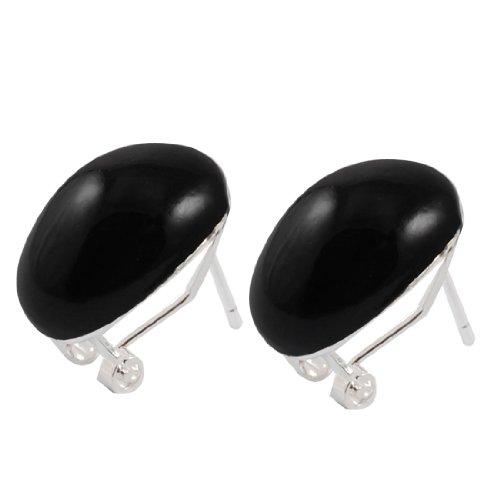 Rosallini Pair Black Mushroom Pendant Metal Stud Earrings for Women