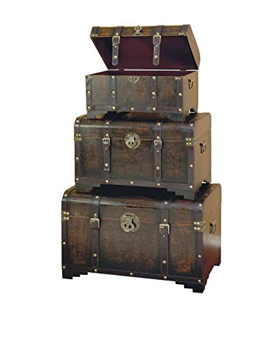 Set of 3 Leather Trunks, Brown