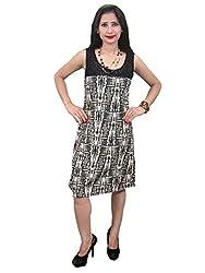 Indiatrendzs Women's Rayon A-line Brown Dress