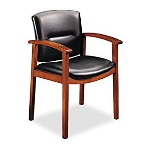 "Hon 5003JEE11 Hardwood Guest Chair, 23-1/2""x22""x33-5/8"", Henna Cherry/Black Vinyl"