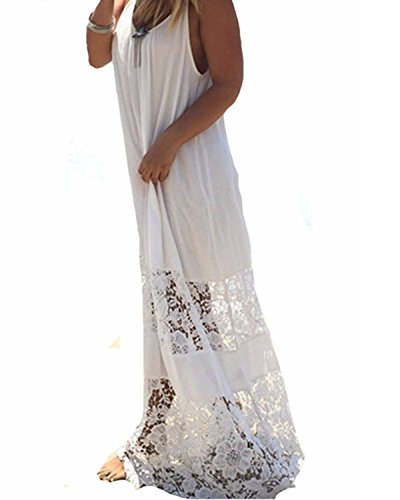 ZANZEA Womens Lace Splice Backless Strappy Party Evening Beach Long Maxi Dress (UK 16, White)