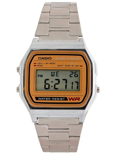 Casio A158WA-9 Casio Silver & Camel Digital Watch