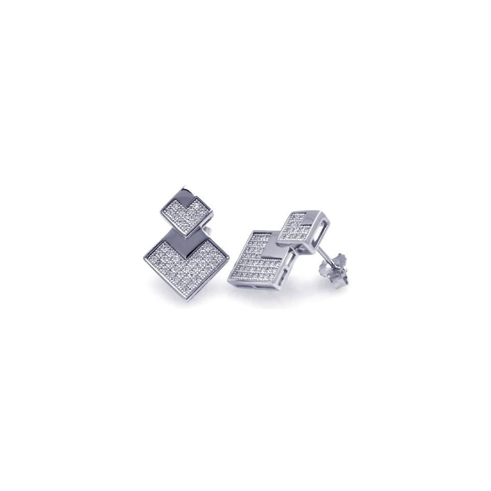 Sterling Silver Earrings Diamond Shape Micro Pave Earrings Stud Earrings Jewelry