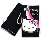 Hello Kitty Black Flip Pouch Sock Cover Case Sleeve Suitable for Samsung C3050 Stratus