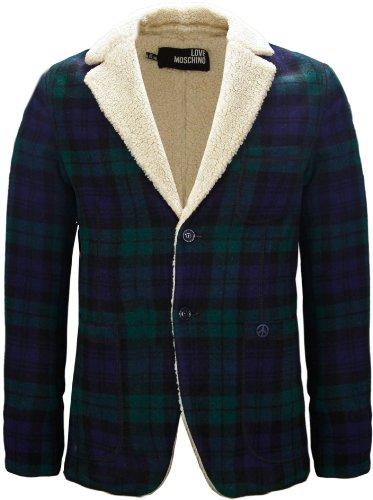 Moschino Men's Tartan Wool Fleece Jacket Navy Blue & Green (XX-Large)