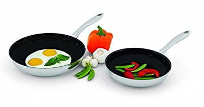 "2 Piece Set - Wolfgang Puck Nonstick Omelet Pans Skillet 2 Piece 8"" & 10"", 18 -10 Stainless Steel Set, Dishwasher Safe"