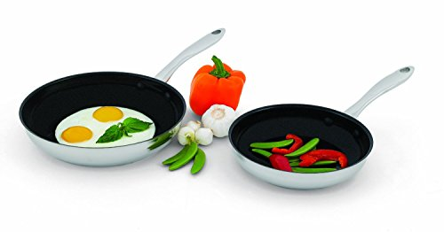 "2 Piece Set - Wolfgang Puck Nonstick Omelet Pans Skillet 2 Piece 8""& 10"", 18 -10 Stainless Steel Set, Dishwasher Safe"