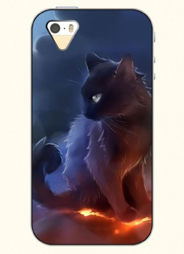 Oofit Phone Case Design With Black Cat For Apple Iphone 5 5S 5G