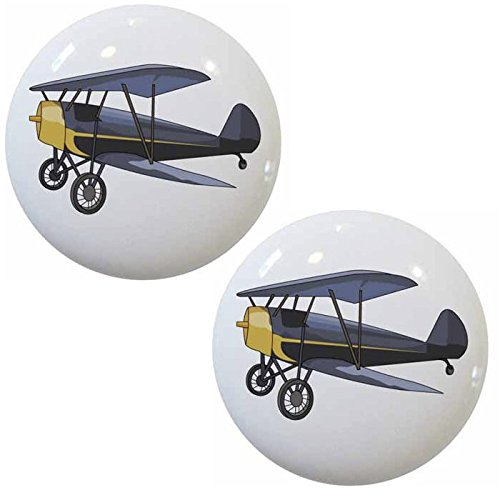 Set of 2 Vintage Airplane Biplane Ceramic Cabinet Drawer Knobs (Airplane Dresser Knobs compare prices)