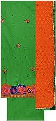 Gunjan Women's Cotton Silk Unstitched Salwar Suit (Green & Orange)